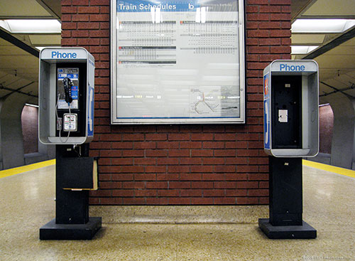 Two BART payphones